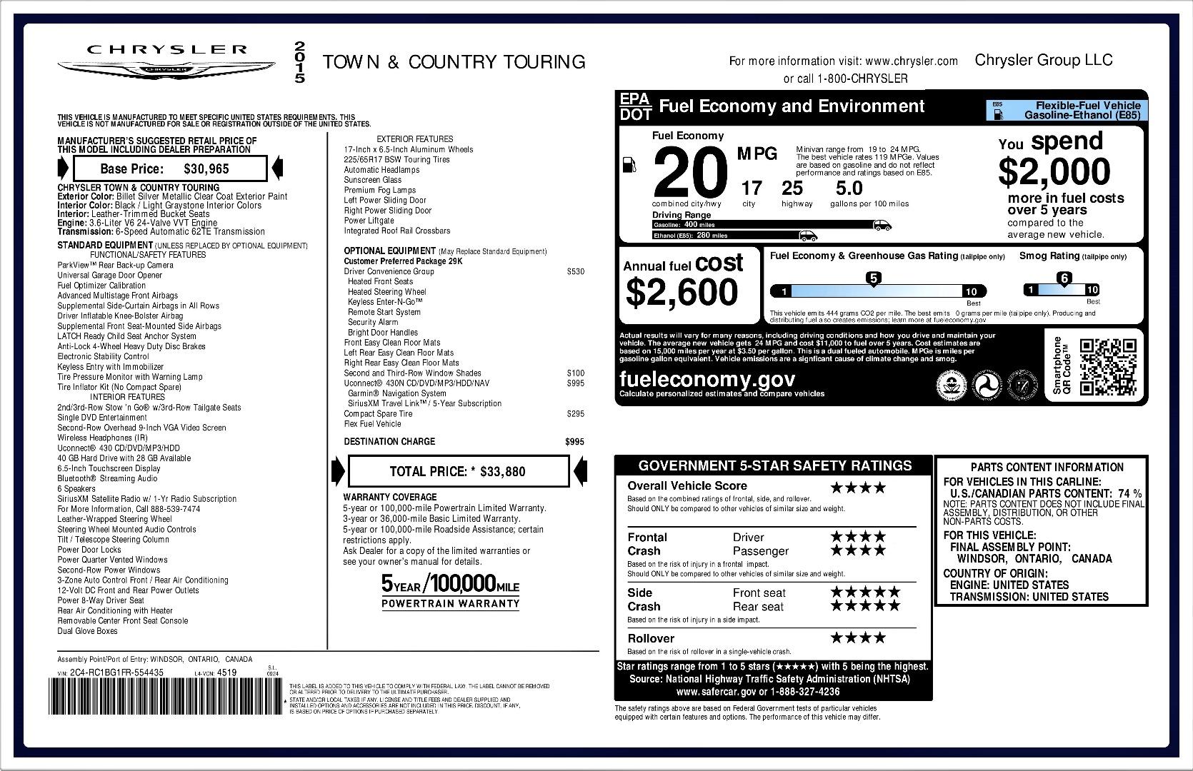 2015 chrysler town  u0026 country printer friendly flyer